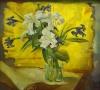 Ирисы и лилии на желтом