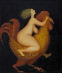 Женщина и петух.